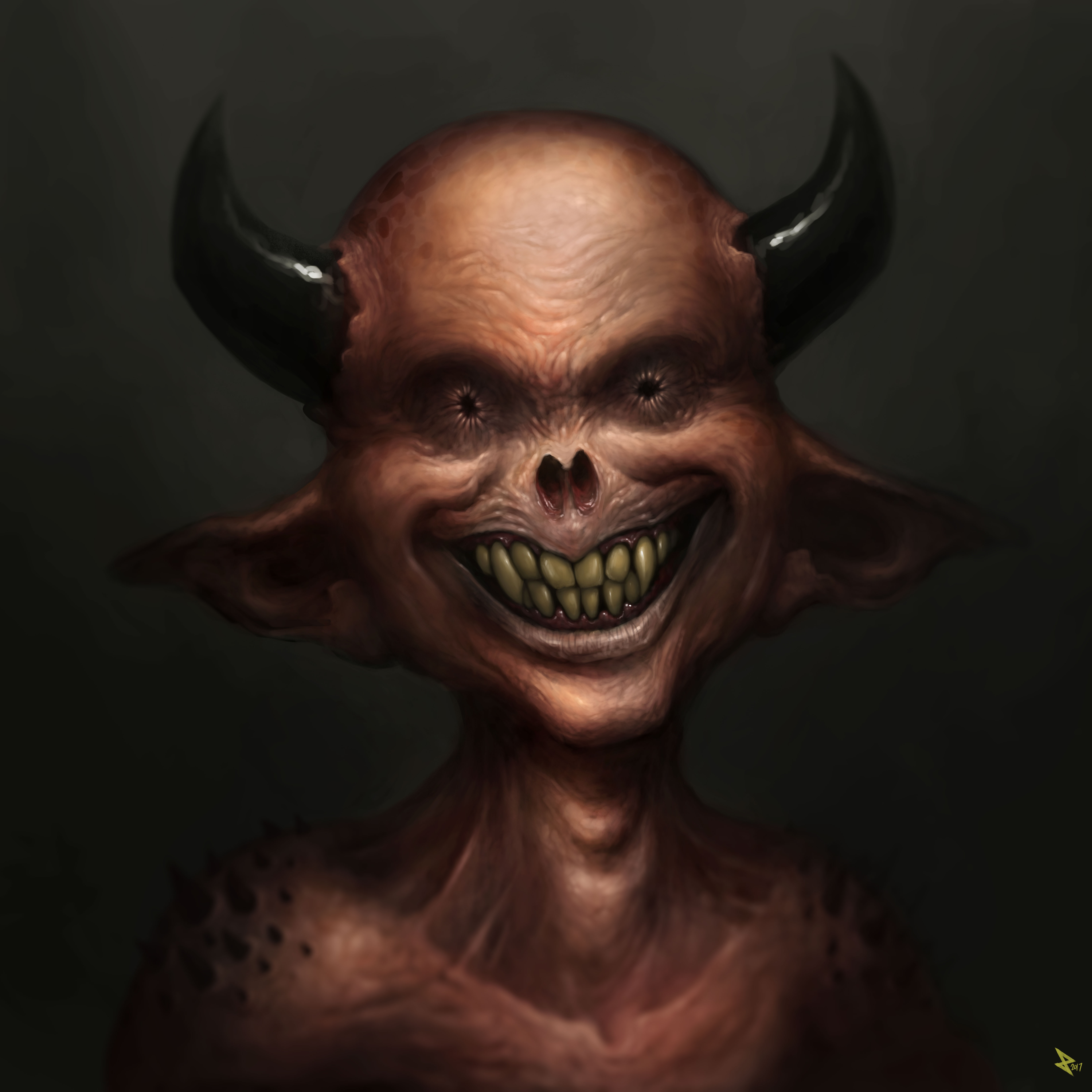 Imp demon smiling
