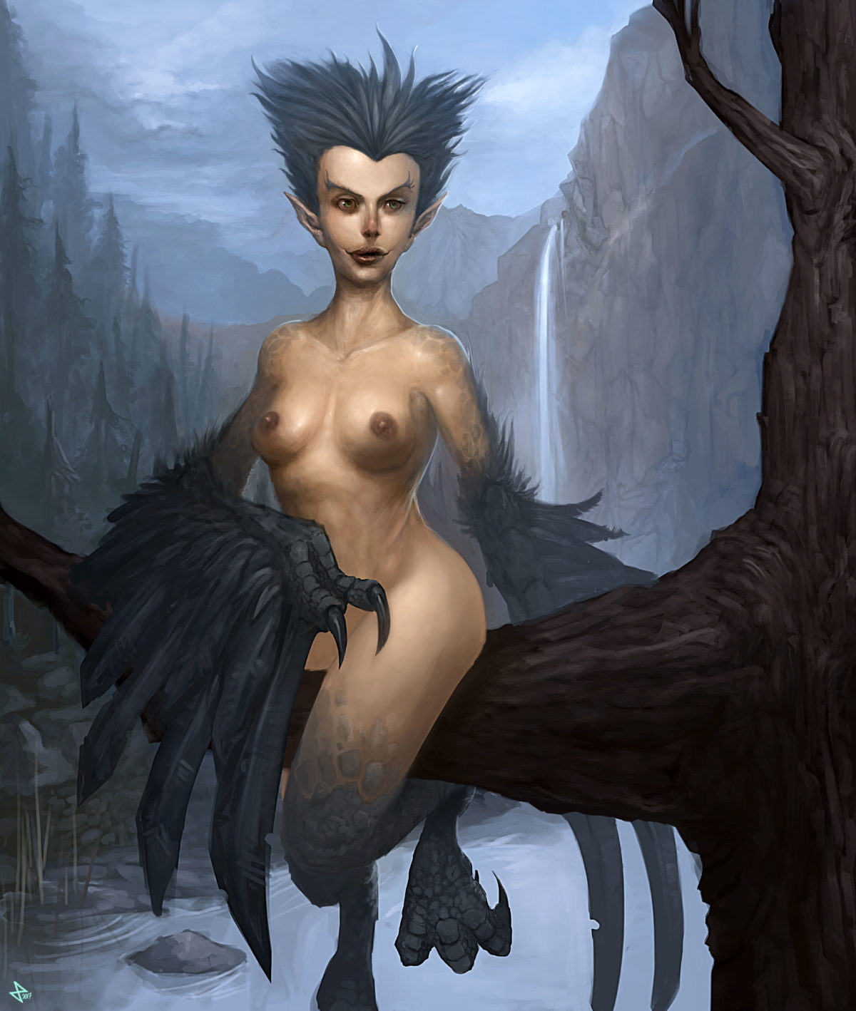 A Harpy on a branch in the mountain forrest