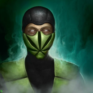 Mortal Kombat ninja with cannabis leaf mask