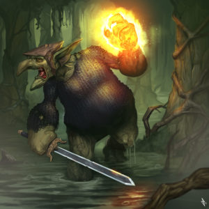 Troll Shadow Knight with glowing hand in the Innothule Swamp