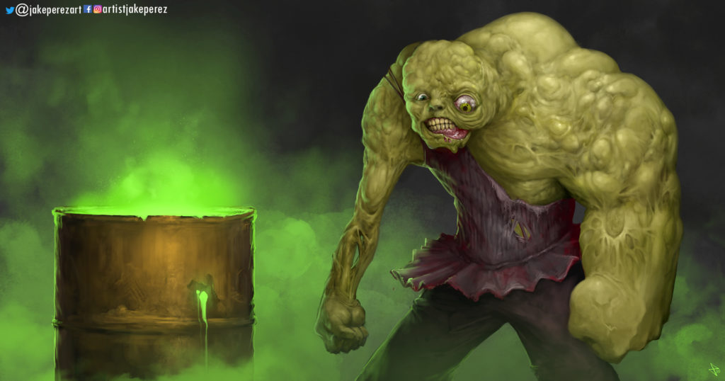 The Toxic Avenger, Tromaville's hideously deformed creature of superhuman size and strength next to a barrel of toxic waste.