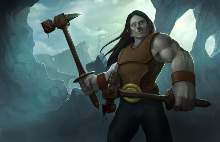 Half Orc Fighter with two hammers with a rocky background