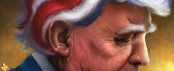 President Donald Trump with red, white and blue hair.