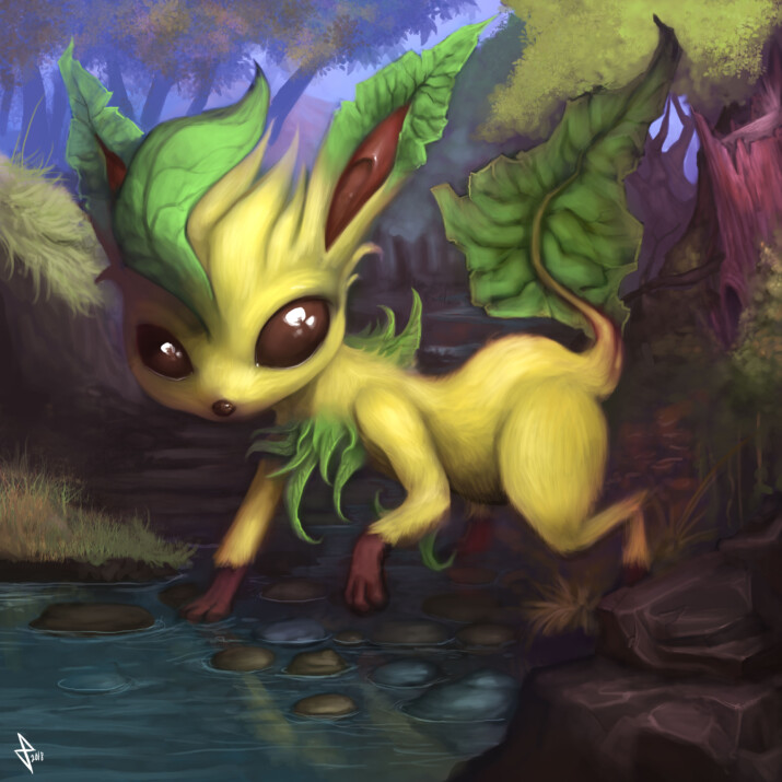 Leafeon on the banks of a stream